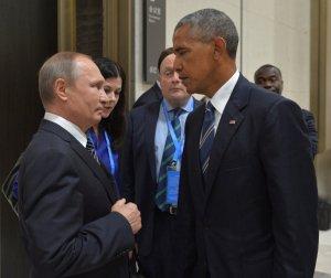 Valdimir Pútín og Barack Obama hittust nýlega á fundi í Kína.