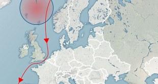 Siglingaleið rússnesku flotadeildarinnar - sprengjuæfingar austan Íslands.