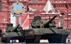 Armata-skriðdrekar á hersýningu í Moskvu.