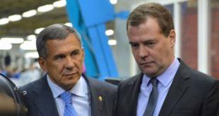 Rustam Minnikhanov, forseti Tatarstan, og Dmitríj Medvedev, forsætisráðherra Rússlands.