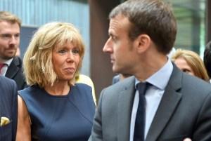 Brigitte Trogneux með eiginmanni sínum Emmanuel Macron.