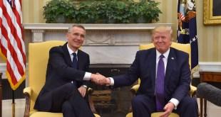 Frá fundi Jens Stoltenberg með Donald Trump í Hvíta húsinu miðvikudaginn 12. apríl.