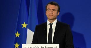 Emmanuel Macron flytur fyrsta ávarps sitt sem kjörinn forseti.