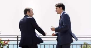 Emmanuel Macron og Justin Trudeau í Taormina.