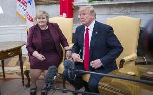 Erna Solberg og Donald Trump í Hvíta húsinu. Mynd: NTB