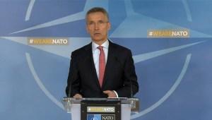 Jens Stoltenberg á blaðamannafundi NATO.
