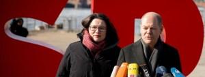 Andrea Nahles og Olaf Scholz, leiðtogar SPD.