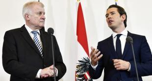 Horst Seehofer og Sebastiajn Kurz í Vínarborg 5. júlí 2018.