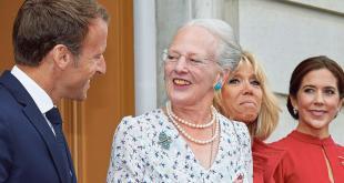 Emmanuel Macron, Margrét Danadrotting, Brigitte Macro og Mary prinsessa á svölum Amalienborgar.