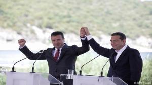Zoran Zaev, forsætisráðherra Makedóníu, og Alexis Tsipras, forsætisráðherra Grikklands,