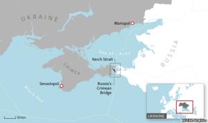Kortið sýnir hvar ráðist var á herskip Úkraínu. Þá má sjá höfnina Mariupol við Azovhaf.