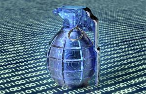 cyber terrorism concept computer bomb in electronic environment, 3d illustration