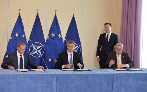 Donald Tusk. Jens Stoltenberg og Jean-Claude Juncker.