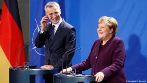 Jens Stoltenberg og Angela Merkel í Berlín 7. nóvember 2019.