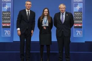 Við upphaf NATO-leiðtogafundarins í London. Jens Stoltenberg, framkvæmdastjóri NATO, Katrín Jakobsdóttir forsætisráðherra og Boris Johnson, forsætisráðherra Bretlands.