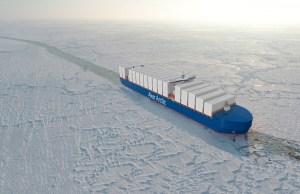 Teikning af ís-gámaskipinu frá Aker Arctic