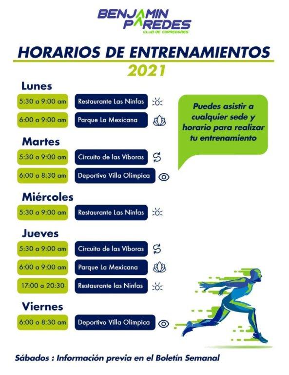 Benjamín Paredes, horarios de entrenamiento