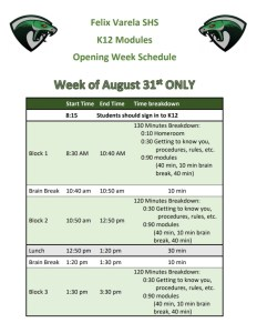 Block schedule week 1