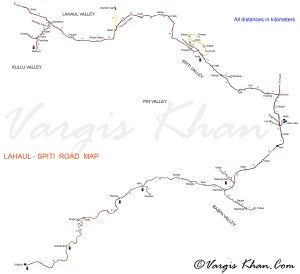 Lahaul Spiti Road Map With Distances