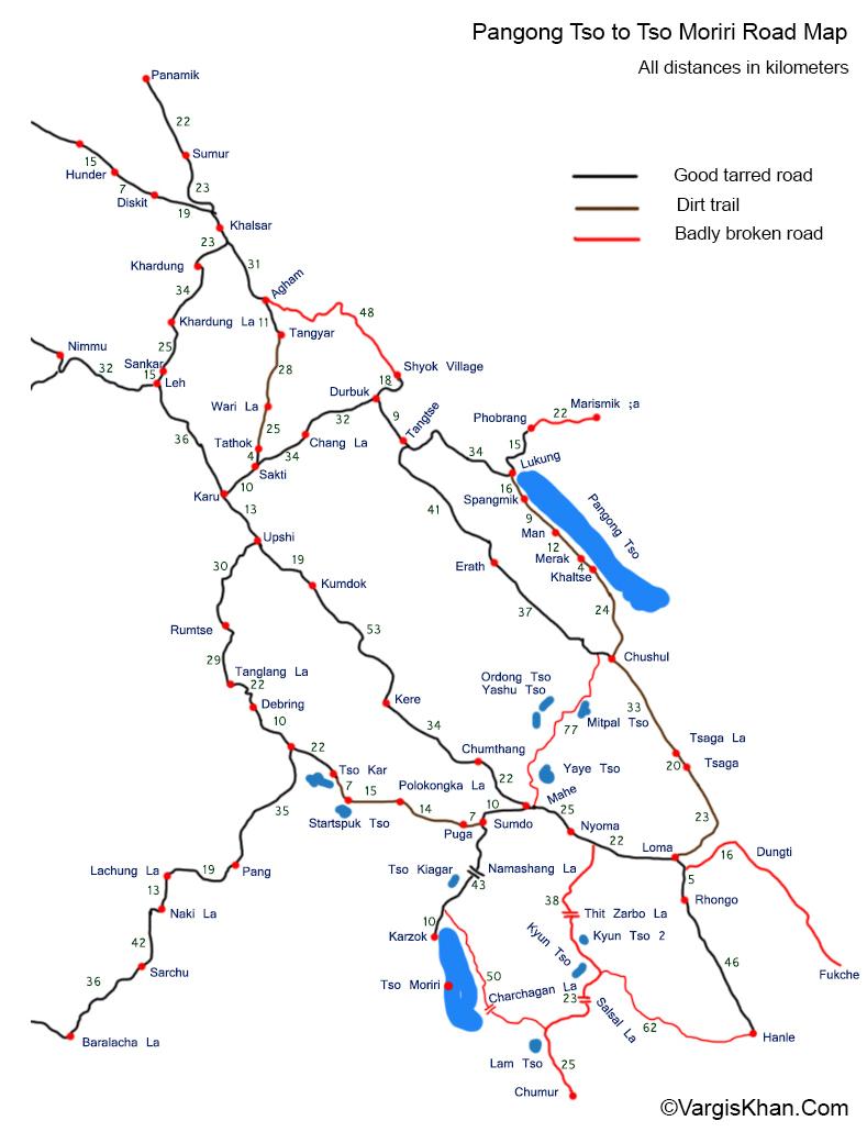Pangong Tso to Tso Moriri Road Map With Distances - Vargis Khan