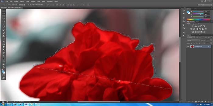 If you do not circle back to the starting point, Photoshop draws a straight line to close the selection