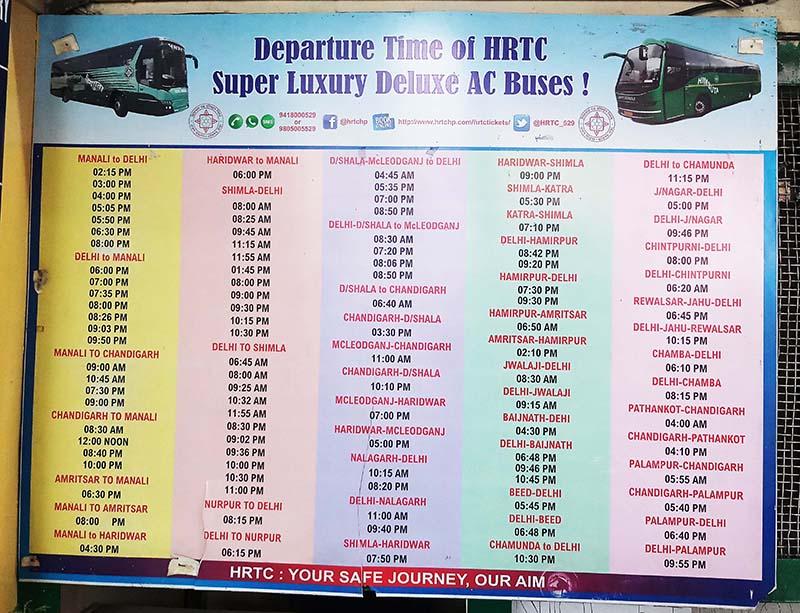 hrtc bus schedule