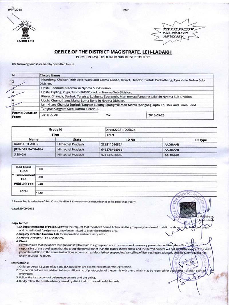 permits for leh ladakh