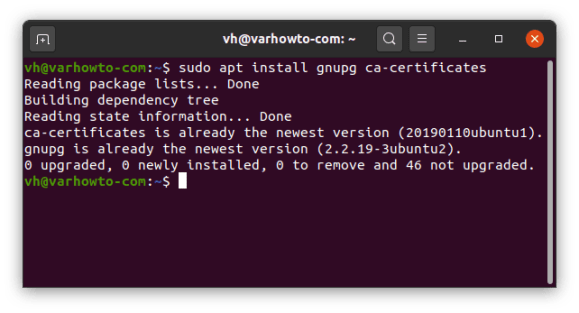 """Output of """"sudo apt install gnupg ca-certificates"""" for mono in Jackett installation"""