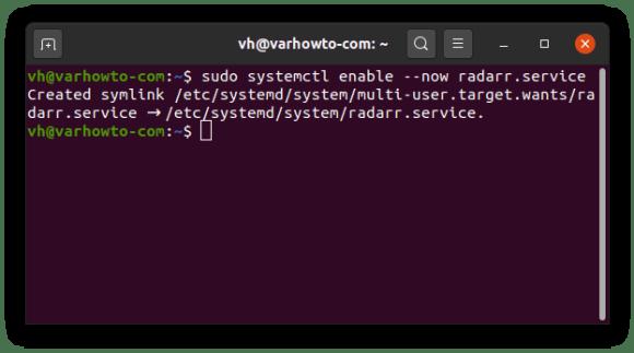 enabling radarr service