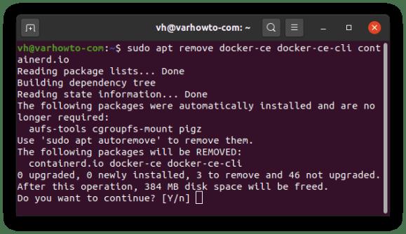 output while removing docking on Ubuntu 20.04
