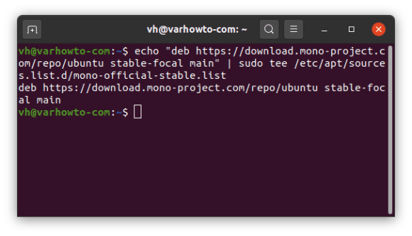 Add mono's Ubuntu 20.04 repository