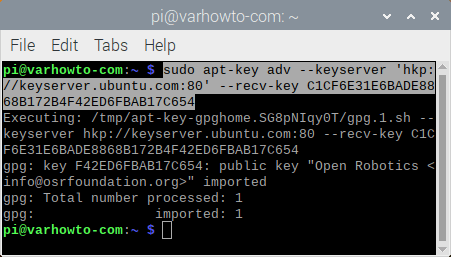 adding ros key to raspberry pi