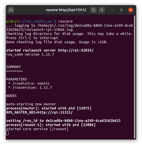 noetic running roscore on raspberry pi