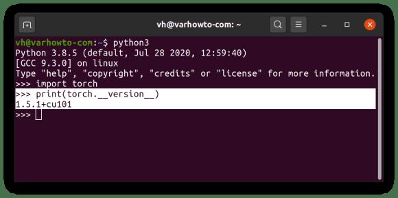 check pytorch version in python interpreter