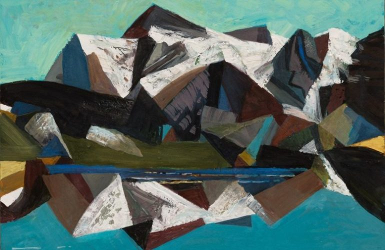An abstract painting of a mountain landscape with sharp, geometric shape making up the mountain, reflected in a turquoise body of water under a light turquoise sky.