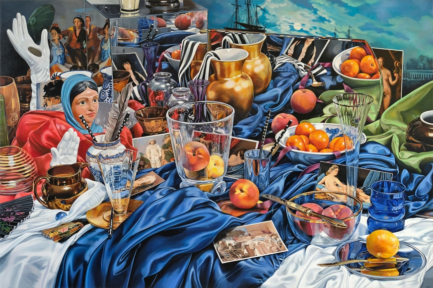 A painting of a table cluttered in draped cloth, fruit, clear glass vessels, miniatures of paintings from art history, and other tchotchkes