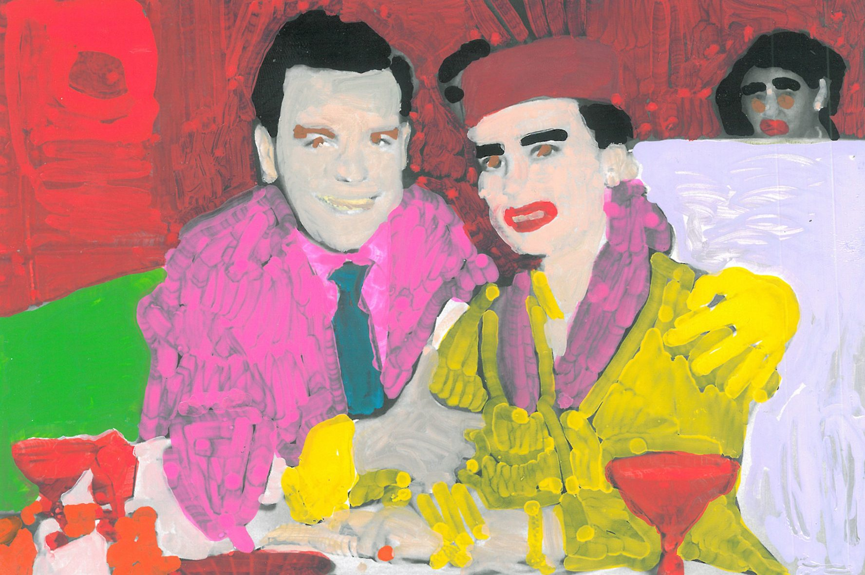 A brightly colorful painting over a photograph of two smiling people sitting at a restaurant. One person wears a pink shirt and a green tie, and the other wears a yellow shirt with a pink collar, and a pink hat.
