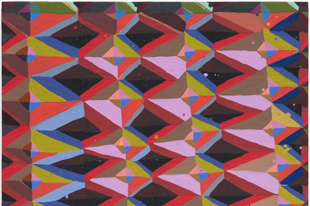 An abstract painting with rows of geometric shapes making diamonds in pink, red, deep burgundy, sage green, light blue, and orange