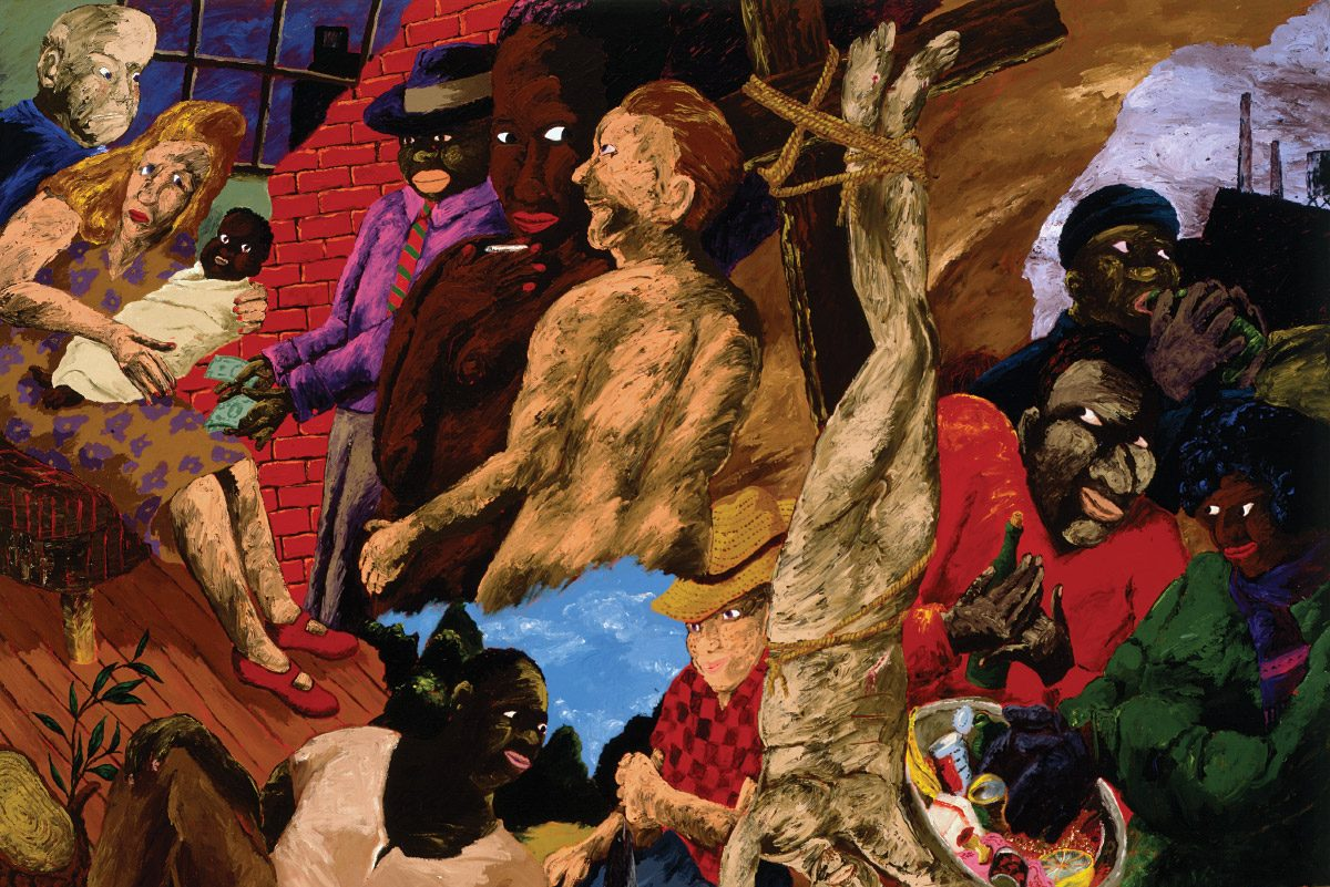 A painting of a layered, chaotic, almost surreal scene with many horizons and Black and white people depicted at varying depths and angles. In the upper left corner, a white woman holds a swaddled Black baby and a Black man on her right holds out several dollar bills. In the bottom center, a Black man in a collarless shirt leans back on the ground next to a white man in a red gingham shirt and straw hat, holding a fish on a line. Bisecting the image, a red-haired white person hangs upside down on a cross.