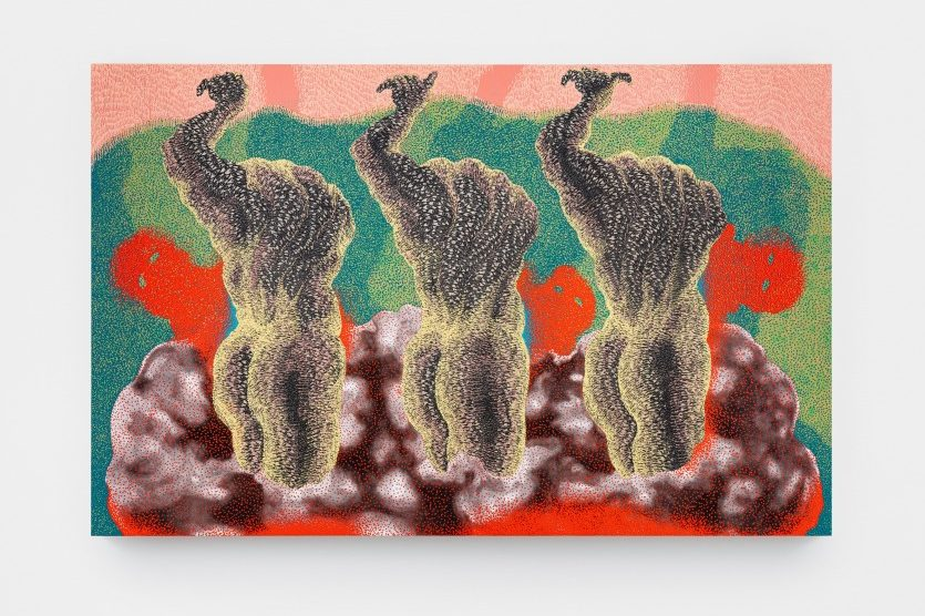 Three bodies face away from the viewer. Each has its left hand raised in the air. They are either headless or their heads are bent below their shoulders. They are surrounded by a dark red fog, and red, featureless faces peek out from behind the bodies. The background is molted greens with a pink layer on the top edge.