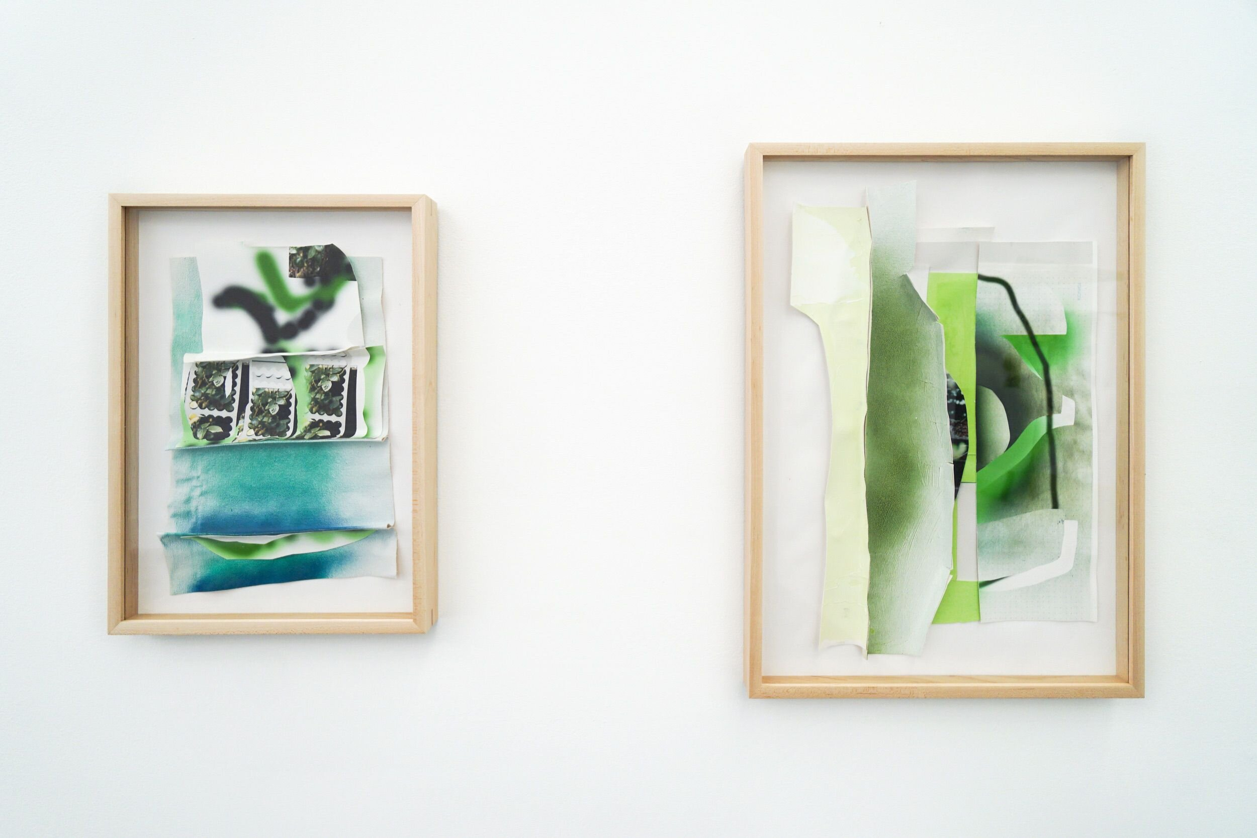 Two paintings by Kate Bonner hanging in light wood frames. Each is made up of a collage of digital and analog painting on layered pieces of paper with torn edges.