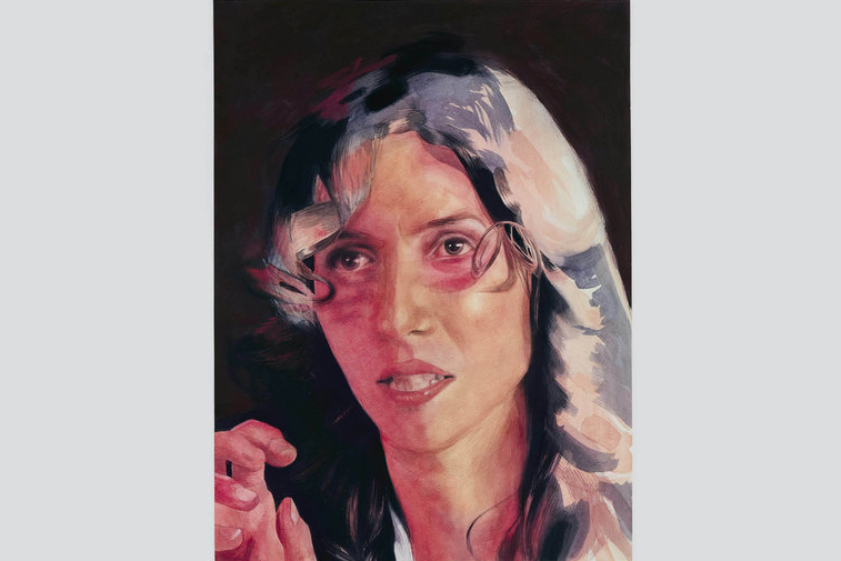 A portrait of a woman in gouache on paper. Her mouth is slightly open as though she was caught in mid-sentence. Her hand is lifted in the lower left corner of the frame. Her eyes look off to the left. A red light is cast on the left side of her face, a warm highlight hits the right side of her long, dark hair.