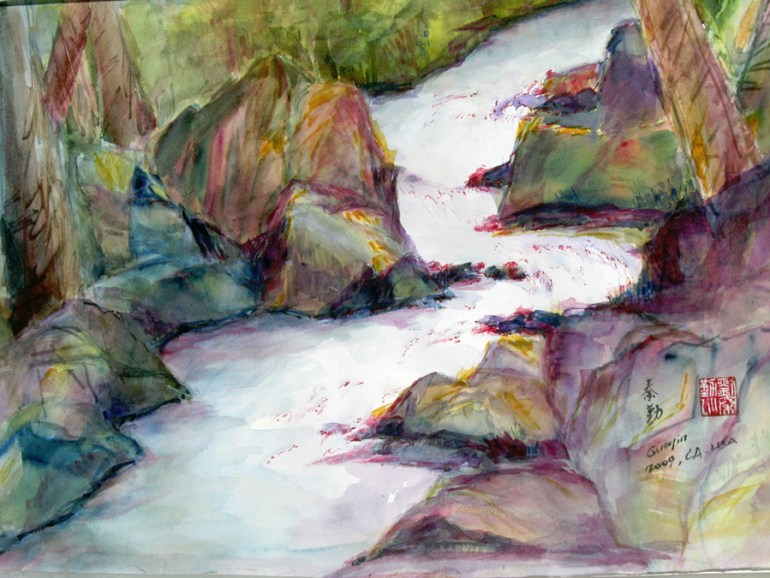 A watercolor painting of a ghostly white river winding through colorfully painted, angular rocks and trees.