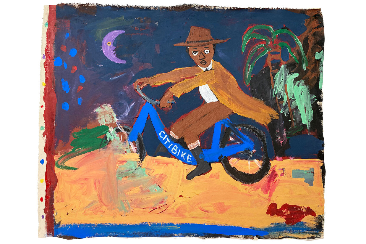 A man riding a blue Citi Bike painted in a folk art, expressionist style. He wears a brown hat, tan coat, brown pants, white shirt and black boots. A purple crescent moon with a yellow eye hangs in the sky, there is a palm tree on the horizon.