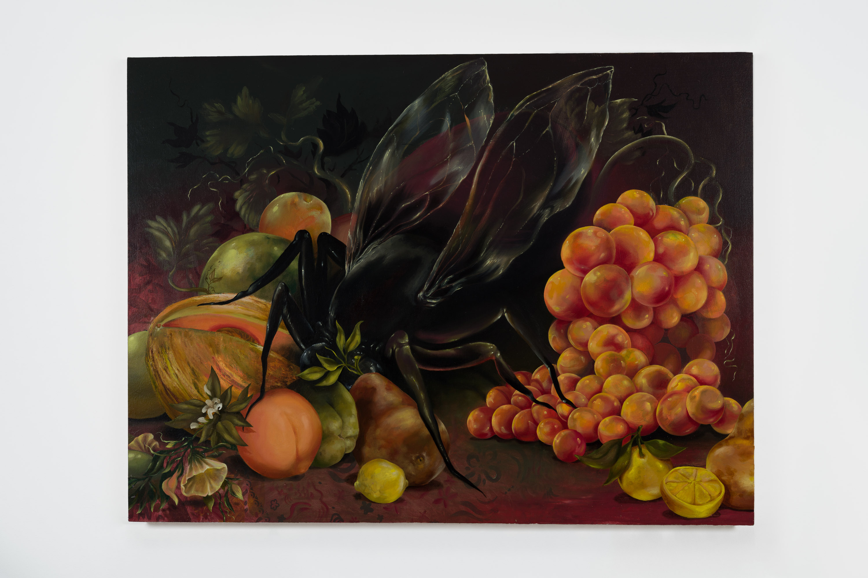 A dark, richly colored painting of a large, black insect with translucent wings crouched over various orange- and green-colored fruit—honey dew melon, peaches, plums, lemons, orange grapes—all spilling across a dark red surface. The background fades from the dark red into black.