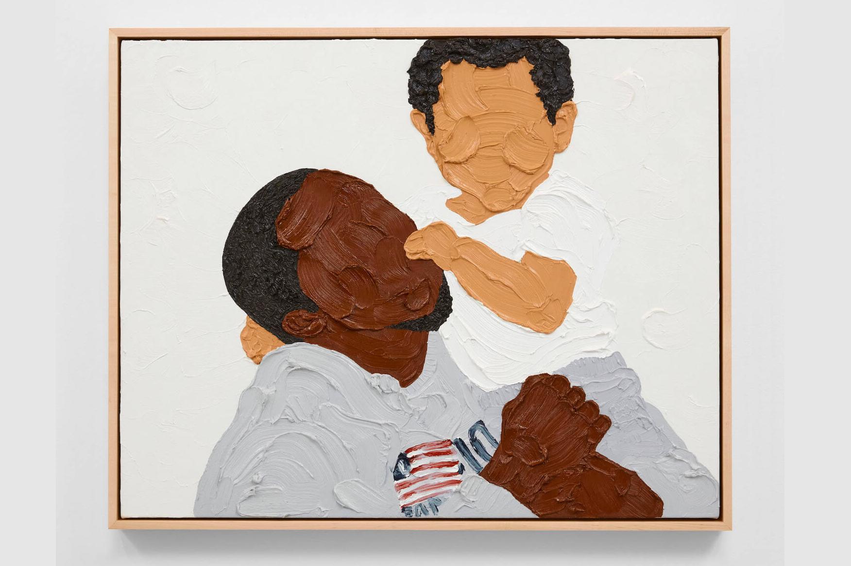 A portrait of a featureless man holding a featureless toddler, both rendered in generous swaths of paint. The man has black hair, a small black beard, and rich brown skin. The child has black hair and golden brown skin. The man wears a grey sweatshirt with a US flag, the child wears a white t-shirt. The man's face is angled up as though he's looking at the child, and the child is facing out toward the viewer.