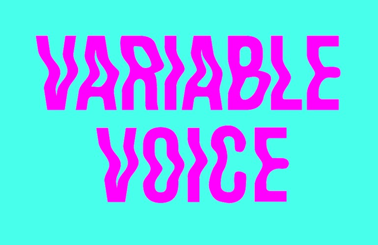 Magenta wiggly, sans serif Variable Voice logo on a bright turquoise background