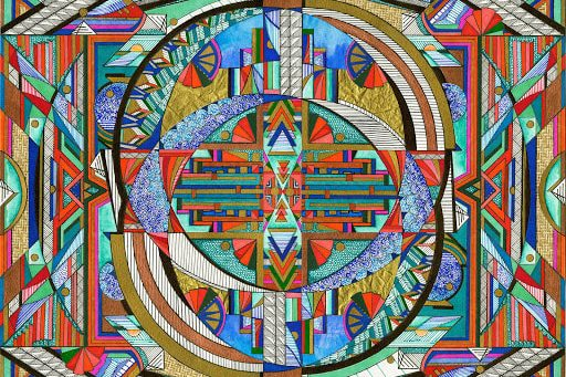 A vibrant and incredibly complex illustration of various intersecting and overlapping shapes and lines, predominantly in greens, blues, oranges, reds, black, and white.