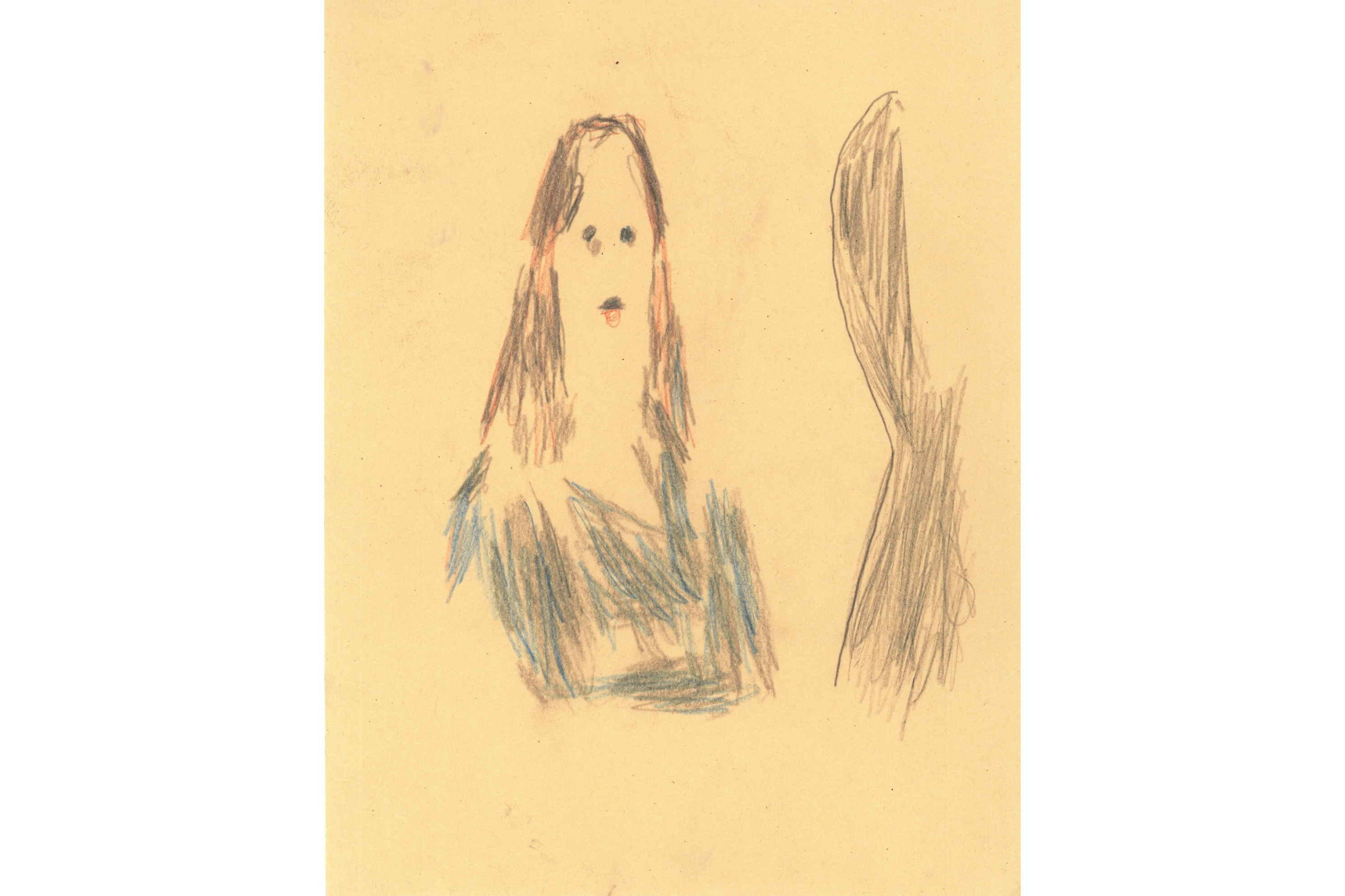 A sketchy, impressionist portrait of a person with long brown hair on a cream background. The figure's shadow looms to the right. The face is featureless except for the eyes and mouth rendered as dark scribbly dots.