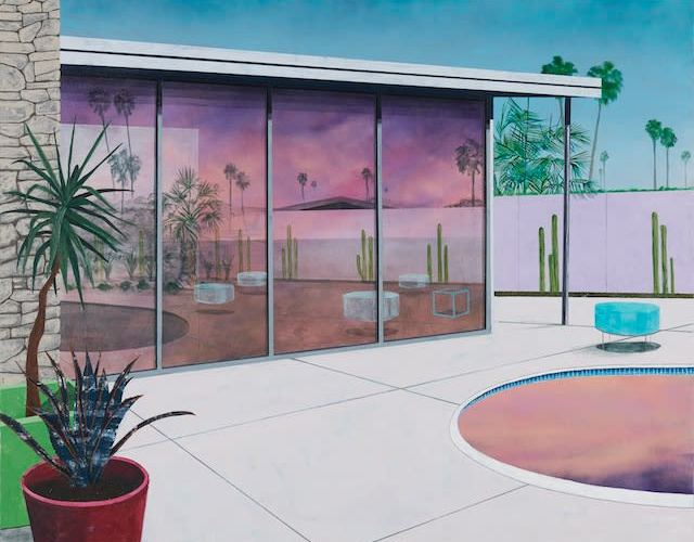 A painting of a beautiful modern building in a desert landscape. The building has a wall of windows the reflect a pink and purple sunset. Behind the building are blue skies. There is a white, probably concrete patio with a pool that is also reflecting the pink sky. Tall, skinny palm trees and thin cacti dot the horizon lines.